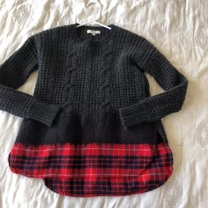 Madewell gray red plaid knit sweater sz small